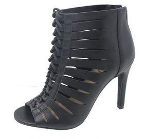 Lace-up Peep Toe Heels - Black