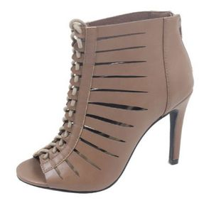 Lace-up Peep Toe Heels - Taupe