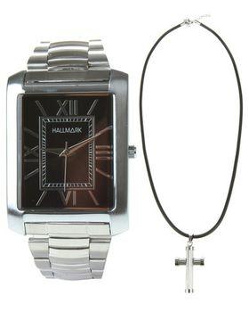 Hallmark Men's Watch & Cross Pendant Necklace Set - Stainless Steel