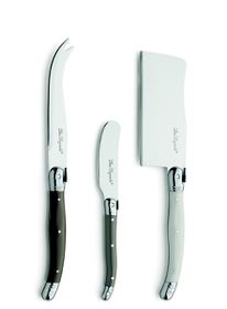 Lou Laguiole - 3 Piece Cheese Knife Set In Wooden Gift Box - Mixed