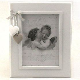 Pamper Hamper - Large Single Photo Frame With Heart Dcor - White