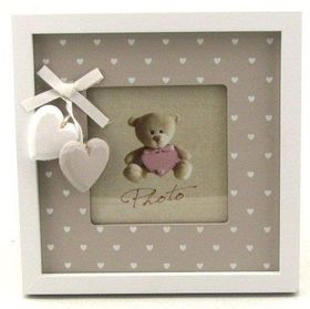 Pamper Hamper - Wooden Square Single Photo Frame With Heart Border - White
