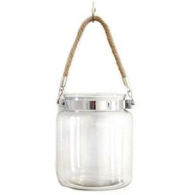 Pamper Hamper - With Chrome and Rope Handle Glass Jar - White