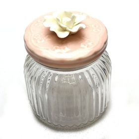 Pamper Hamper - Medium Glass Jar Pink Lid - White