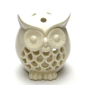 Pamper Hamper - White Ceramic Owl Candle Holder - White