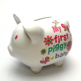 Pamper Hamper - Girls Piggy Bank - White