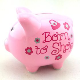 Pamper Hamper - Born To Shop Piggy Bank - Pink