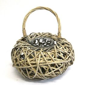 Pamper Hamper - Wicker Basket Lantern Candle Holder - Grey