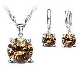 URBAN Charm 925 Silver Cubic Zirconia Necklace & Earring Set - Champagne