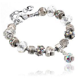 Silver Charms Bracelet - White