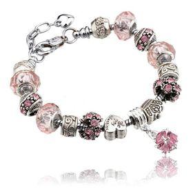 Silver Charms Bracelet - Pink