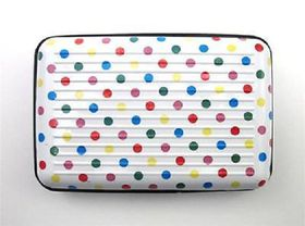 Quirky Aluminium Wallet - White with Multi-Colour Polka Dot