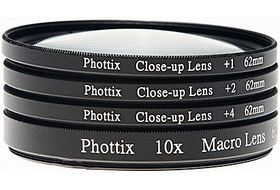 Phottix +1, +2, +4, 10x Macro Lens Filters (Close-Up Lens) 72mm