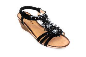 Savoy Ladies Wedge Lace Sandal in Black