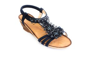 Savoy Ladies Wedge Lace Sandal in Navy