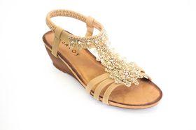 Savoy Ladies Wedge Lace Sandal in Beige