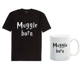 Muggle Born Mens Black T-Shirt And Mug Combo