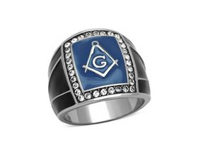 Blue and Black Stainless Steel Free Mason Ring with Crystals - T1/2
