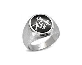 Free Mason Brush Finish Stainless Steel Ring - V1/2