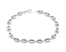 Genuine 20cm 925 Sterling Silver Hollow Marina Style Bracelet