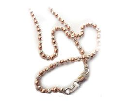 Genuine 50cm 925 Sterling Silver Two Tone Bead style Necklace