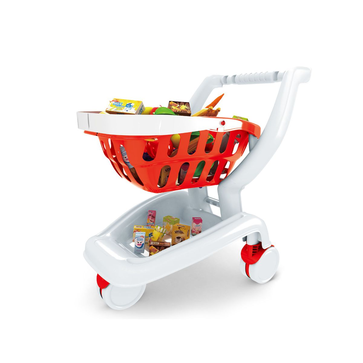 Jeronimo 2 In 1 Toy Shopping Cart  Red And White