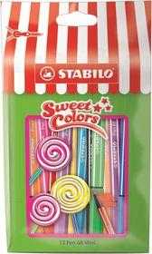 Stabilo Pen 68 1.0mm Mini Sweet Colors Fibre Tip Pens (Pouch of 15)