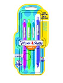 Paper Mate Inkjoy 300 Retractable Ballpoint Pens - Assorted Fun (Carded 4's)