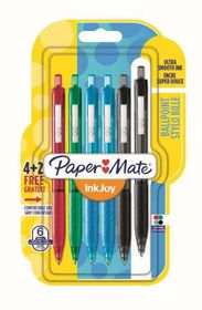 Paper Mate Inkjoy 300 Retractable Ballpoint Pens - Assorted Std (Carded 6's)