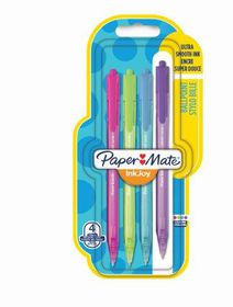 Paper Mate Inkjoy 100 Retractable Ballpoint Pens - Assorted Fun (Carded 4's)