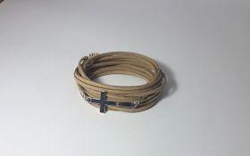 Lakota Inspirations Silver Cross Caramel Wrap Bracelet