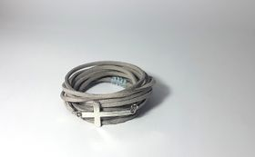 Lakota Inspirations Silver Cross Charcoal Wrap Bracelet
