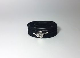Lakota Inspirations Sacred Lotus Crystal Black Wrap Bracelet