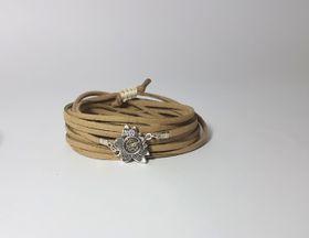 Lakota Inspirations Sacred Lotus Crystal Caramel Wrap Bracelet