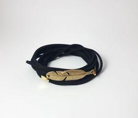 Lakota Inspirations Gold Feather Black Wrap Bracelet