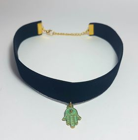 Lakota Inspirations Antique Gold Hamsa Hand Velvet Choker