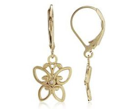 925 Sterling Silver Gold Plated 0.006ctw Genuine Diamond Butterfly Earrings