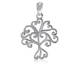 925 Sterling Silver Twirly Tree of Life Pendant