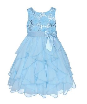 Princess Flowergirl Sequin Ruffle Dress - Blue