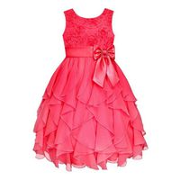 Princess Flowergirl Floral Ruffle Dress - Cerise Pink