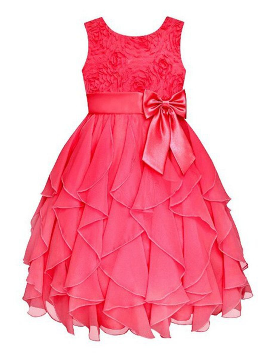 Snow White Princess Flowergirl Floral Ruffle Dress Cerise Pink