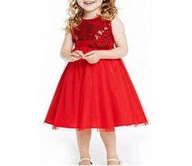 Princess Sequin Flowergirl Dress - Red