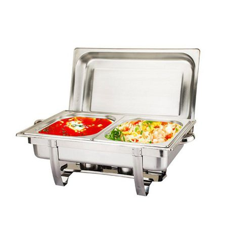 stainless steel 11 liter dual tray chafing dish - food warmer | buy