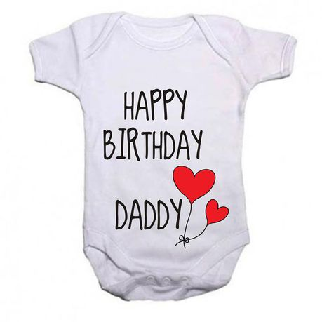 Noveltees ZA Unisex Happy Birthday Daddy Baby Grow