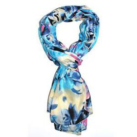 Lily & Rose Blue And Pink Colour Flower Print Scarf TLS078