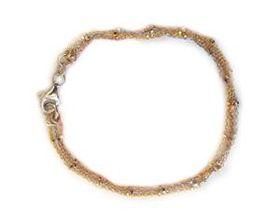 Miss Jewels 925 Sterling Silver Three Tone Bead & Rolo Style Bracelet