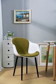 Patio Style - Bucket Chair With Black Legs and Green Fabric - White