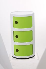 Patio Style - Round Componibili Storage With Green Doors - White