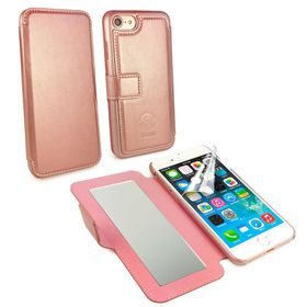 TUFF-LUV Slim Leather Vanity Mirror Case for the iPhone 7 - Rose Gold