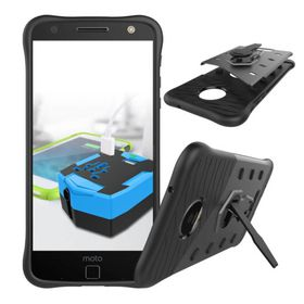 Tuff-Luv Rugged Twin Protection Case with Stand for Moto Z - Black